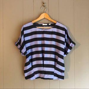 New York & Company Purple & Black Stripe Blouse